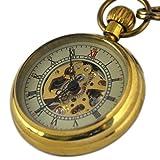 VIGOROSO Mens Mini Antique Vintage Copper Skeleton Steampunk Mechanical FOB Pocket Watch in Box
