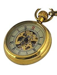 VIGOROSO Mens Mini Antique Vintage Copper Skeleton Steampunk Mechanical FOB Pocket Watch