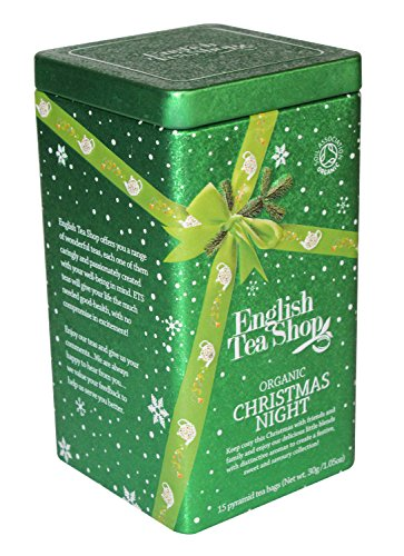 English Tea Shop Christmas Night Square Tin Nylon Pyramid, 30 Gram