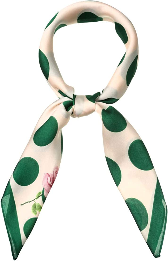 Allegra K 70cm Polka Dots Square Scarf Neck Scarves Kerchief Neckerchief Headband for Women