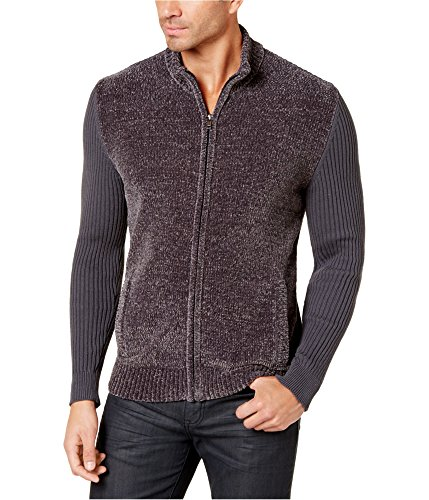 (Alfani Mens Chenille Zip-UP Mock Neck Cardigan Sweater Gray XL)