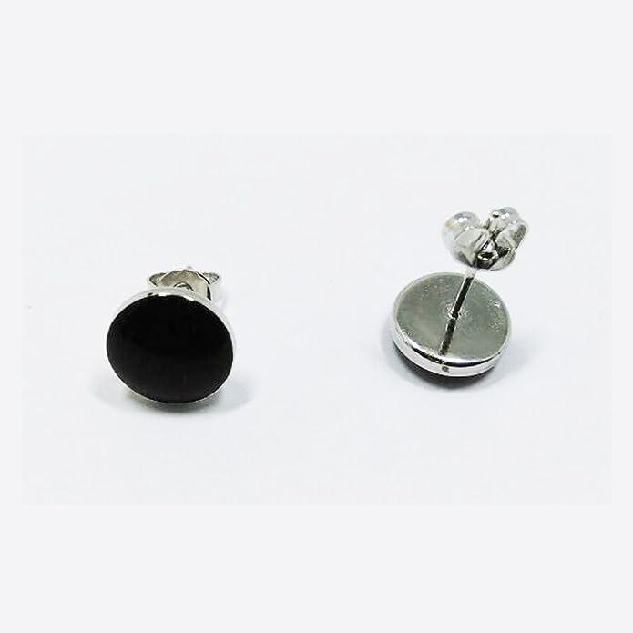 Elegant simple classic round earrings Crystal glue black / 925 Sterling Silver 9mm for women and men GHcbmQisa