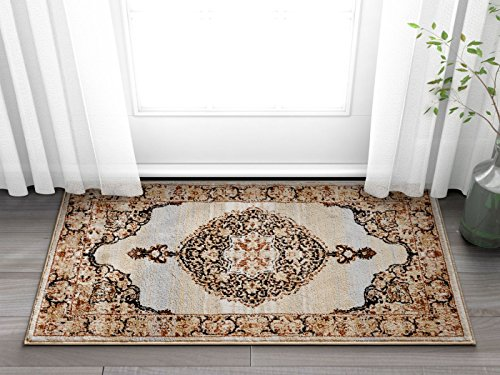 """Mughal Red Medallion Modern 2x4 ( 2'3"""" x 3'11"""" ) Area Rug Beige Ivory Blue Vintage Floral Oriental Carpet"""