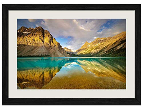 - Canada Alberta Banff National Park Mountains Bow Lake - Art Prints Wall Wood Frames Posters Framed Picture Home Décor(16x12inch Black Frame)