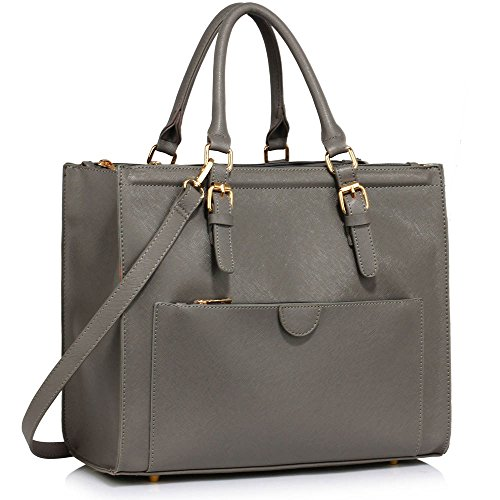 Womens Faux Leather Shoulder Bags Ladies Handbags Designer Style Tote New Design 1 - Grey