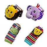 SMTF Cute Animal Soft Baby Socks Toys Wrist Rattles and Foot Finders Set 4PCS