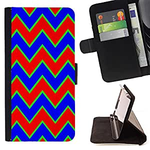 King Case - FOR HTC One M7 - Red blue waves - Prima caja de la PU billetera de cuero con ranuras para tarjetas, efectivo Compartimiento desmontable y correa para la mu?eca