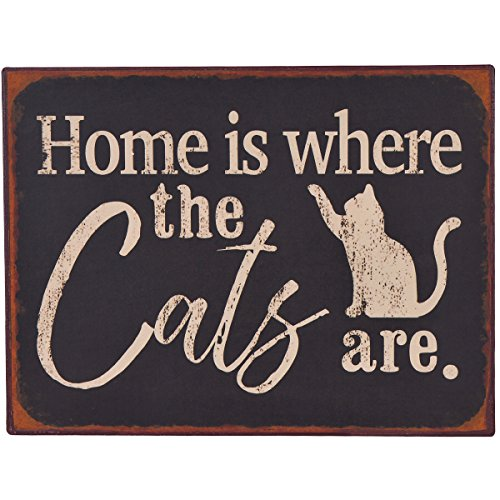 (NIKKY HOME Home is Where The Cats are Rustic Metal Wall Decorative Pet Sign, Black)