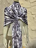FREE SHIPPING IN USA Silk Scarf for Women or Men in Charcoal, Grey & White One of a Kind Handmade in USA Wearable Art