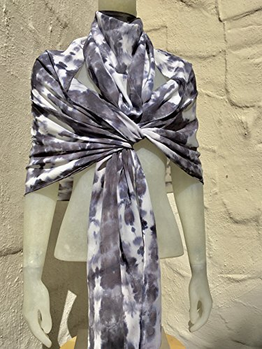 FREE SHIPPING IN USA Silk Scarf for Women or Men in Charcoal, Grey & White One of a Kind Handmade in USA Wearable Art by Scarf Spree