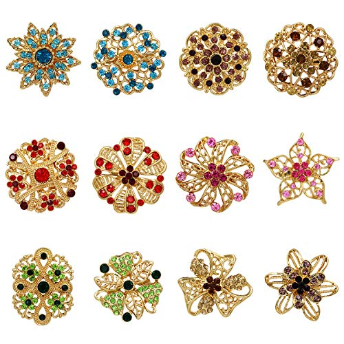 WeimanJewelry Yellow Gold Plated Lot 12pcs Multicolor Crystal Rhinestone Flower Brooches Lapel Pins for DIY Bridal Wedding Bouquets