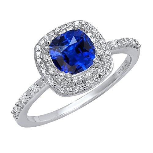 18K White Gold 6 MM Cushion Lab Created Blue Sapphire & Round Diamond...