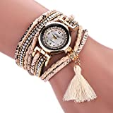 Duoya Crystal Bracelet Leather Band Watch Wrap Around Strap for Women D111