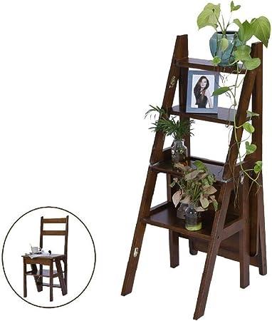 Agjq Heces escalonadas Escalera Doble Escalera Plegable Silla Escalera Multifunción Taburete Floral Estantería de 4 Capas Silla de Comedor Bamboo Taburete (Color : A): Amazon.es: Hogar