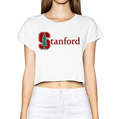 SAXON13 Women's Geek Stanford University S Logo Bare Midriff Short Sleeve White Size XL (White Felt Beard)