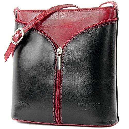 Red shoulder shoulder Italian handbag small bag bag ostrich Dark Black women's D19 bag ww7qY
