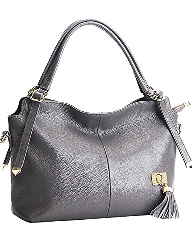 Menschwear Womens Genuine Leather Top Handle Satchel Bag Grey by Menschwear