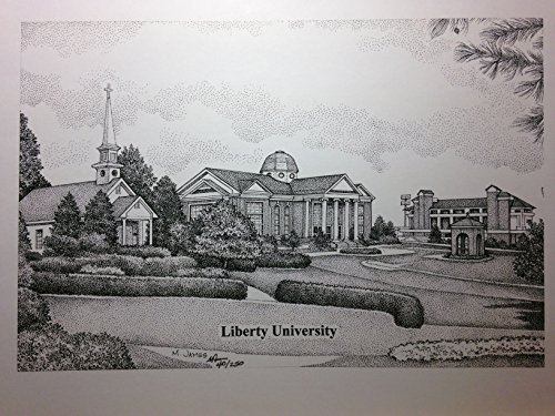 Liberty University 11''x14'' pen and ink print by Campus Scenes