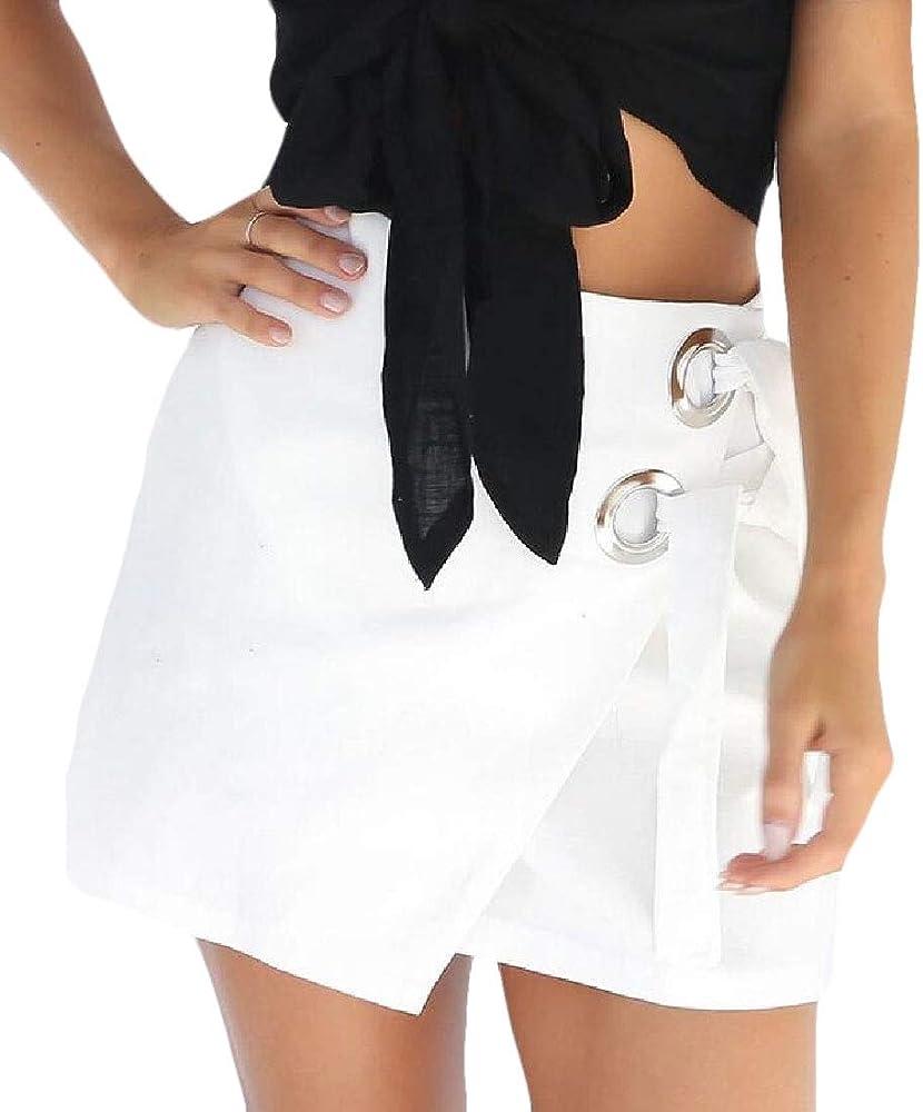 dahuo - Falda asimétrica con Nudo y Cierre para Mujer Blanco ...