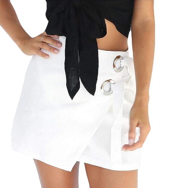 Falda asimétrica de Seguridad para Mujer con Nudo en Contraste ...