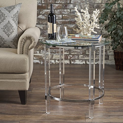 Great Deal Furniture 302235 Orson Acrylic and Tempered Glass Square Circular Table, Clear