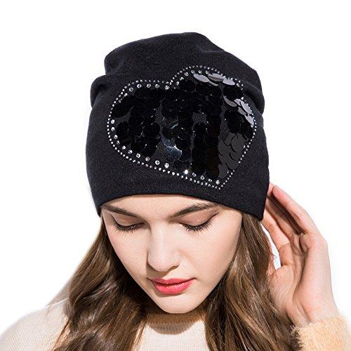 GZHILOVINGL Heart Sequins Beanie Hat for Women, Winter Slouch Rhinestone Bonnet Cap