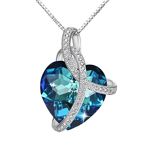 Adorned 925 Sterling Silver Pendant - EleQueen Swarovski Crystals Heart Pendant Necklace-925 Sterling Silver-Cubic Zirconia Necklace-Gifts for Women, Box Chain 19'' Bermuda Blue