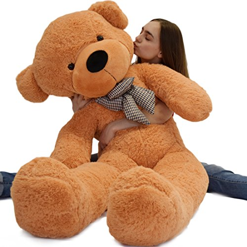 WOWMAX 4.5 Foot Light Brown Giant Teddy Bear Cuddly Stuffed Plush Animals Teddy Bear Toy Doll 55""