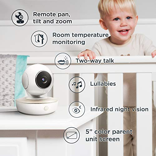 51L3oJtUR0L - Motorola Video Baby Monitor - 2 Wide Angle HD Cameras With Infrared Night Vision And Remote Pan, Tilt, Zoom - 5-Inch LCD Color Display With Split Screen View, Room Temperature And Sound Alert MBP50-G2