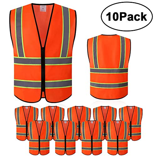 Safety Vest with High Reflective Strips, Pack of 10 Bright Neon Color Construction Protector with Zipper