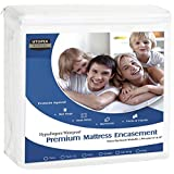 Premium Zippered Waterproof Mattress Encasement - Bed Bug Proof Mattress Cover - Ample Zipper Opening for Mattress Protector - Protection from Fluids, Insects and Dust Mites (Queen) by Utopia Bedding