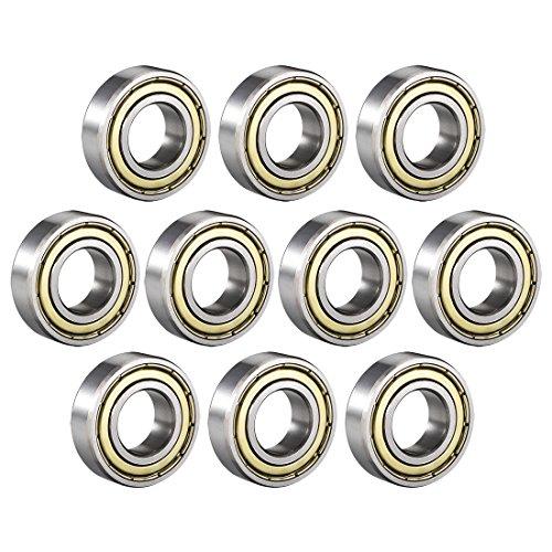 uxcell 6003ZZ Deep Groove Ball Bearing Double Shield 6003-2Z 80103, 17mm x 35mm x 10mm Carbon Steel Bearings (Pack of - 10mm Skateboard Bearing