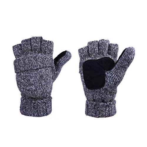 HDE Winter Mittens Knit Fingerless Fliptop Thermal Fleece Gloves w/ Suede Grips