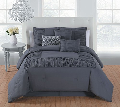 Avondale Manor Jules 7 Piece Comforter Set, King, Grey