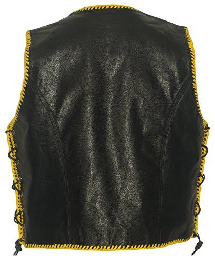 Herren Lederweste mit gelben Kordeln, 3 Schnallen, Clubweste, Rockerweste, Bikerweste