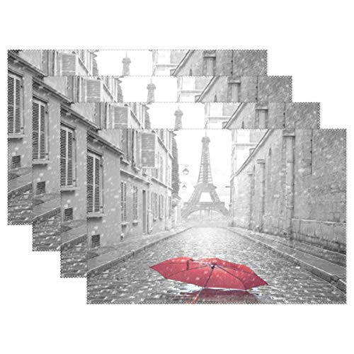 Promini Heat-Resistant Placemats, Paris Eiffel Tower with Red Umbrella in Street Washable Polyester Table Mats Non Slip Washable Placemats for Kitchen Dining Room Set of 4