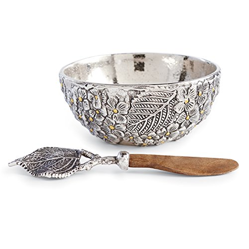 Mud Pie Hydrangea Metal Dip Cup Set, Silver