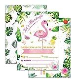 WERNNSAI Flamingo Party Invitations with Envelopes - 20 Set Luau Birthday Party Supplies Invitation Cards