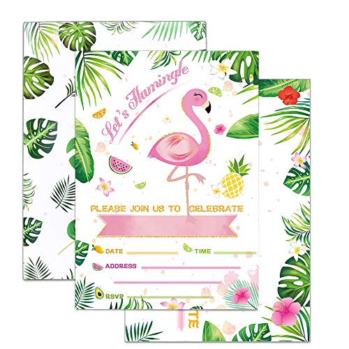 WERNNSAI Glitter Flamingo Party Invitations with Envelopes - 20 Set Luau Birthday Baby Shower Wedding Pool Summer Party Supplies Invitation Cards