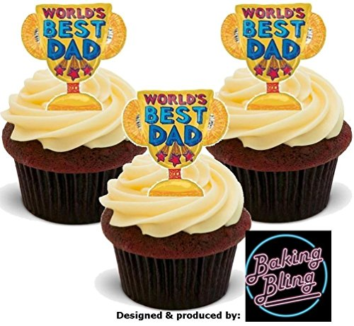 """Cupcake Toppers Decorations Mix 24 x Happy Fathers Day Dad 1.5/"""" PRE CUT Cake"""