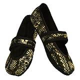 Nufoot Betsy Lou Women's Shoes, Best Foldable & Flexible Flats, Slipper Socks, Travel Slippers & Exercise Shoes, Dance Shoes, Yoga Socks, House Shoes, Indoor Slippers, Silver Snake, Medium