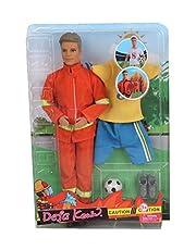 دمية كيفن مع زي رجل مطافي وزي كرة قدم للاولاد من ديفا 8382-YELLOW