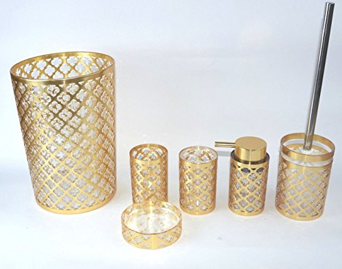 Daniels Geneva Gold 6 Piece Basket and Accessory Set - The following is included in the set: One waste basket One lotion dispenser One toothbrush holder  One tumbler One soap dish One toilet brush holder - bathroom-accessory-sets, bathroom-accessories, bathroom - 51L3qFN72rL -