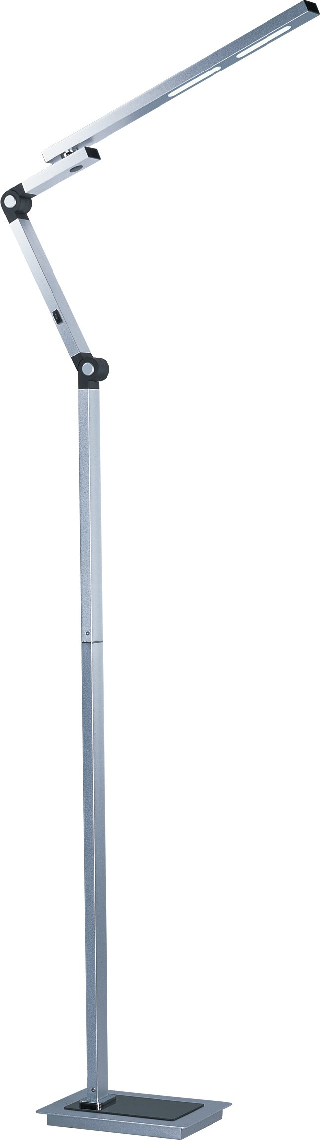 ET2 E41031-SA Eco-Task LED Floor Lamp, Satin Aluminum Finish, Glass, LED Bulb, 13W Max., Dry Safety Rated, 3000K Color Temp., Electronic Low Voltage (ELV) Dimmable, Glass Shade Material, 2304 Rated Lumens by ET2 Lighting (Image #1)