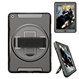 iPad Air Case, Case-Cubic 360 Degree Rotatable [Shock Proof] Extreme Heavy Duty Full Body Rugged Hybrid Case with Build-in Stand, a Hand Strap, a HD Screen Protector (iPad 5)