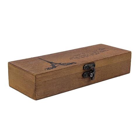 Estuche de madera con diseño de torre Eiffel para lápices, caja de almacenamiento