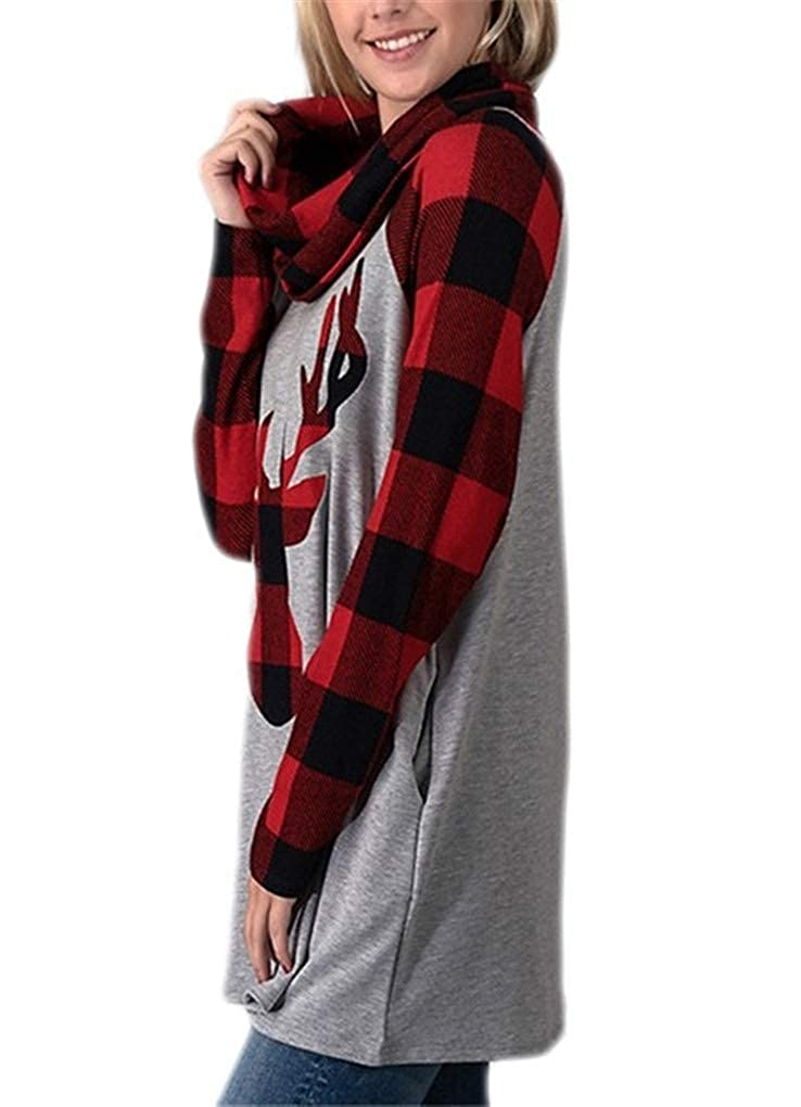 Fenxxxl Womens Christmas Elk Shirt Plaid Reindeer Cowl Neck Tunic Blouse Tops