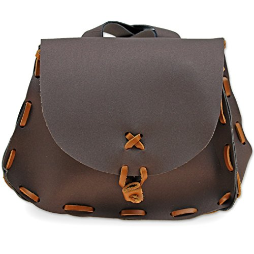 Swordsaxe French Nobles Belt Pouch Leather & Cordura Medieval Fanny Pack Hip Holder Brown -