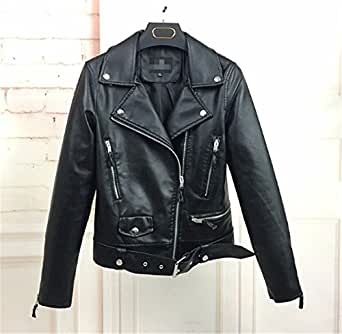 AUUOCC 1PC Leather Jacket Women Short Coats Leather Jackets Black S