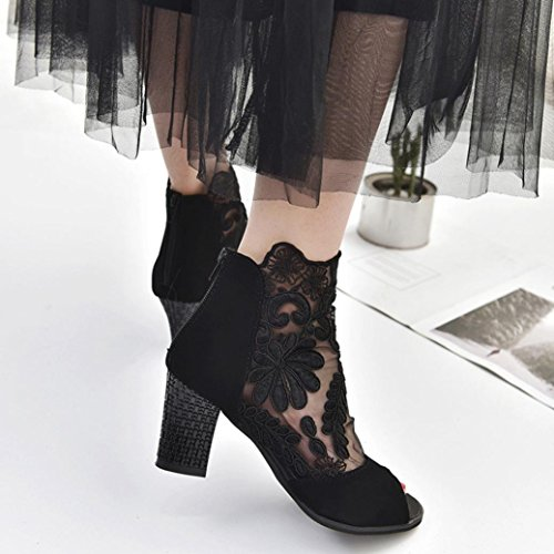 AIMTOPPY HOT Sale, Zip Ladies mesh high-heeled shoes with chunky lace fish mouth Casual Open Toe Lace Party Singel Shoes (US:8, Black) by AIMTOPPY (Image #2)